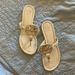 White Tory Burch Miller Sandals